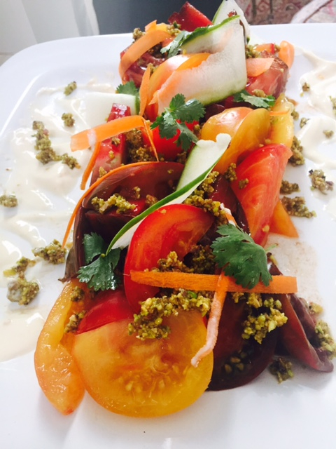 Heirloom Tomatoes with Pistachio Crumbles and Apricot Cream