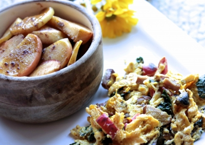 Sausage Kale Scramble With Caramelized Cinnamon Apples