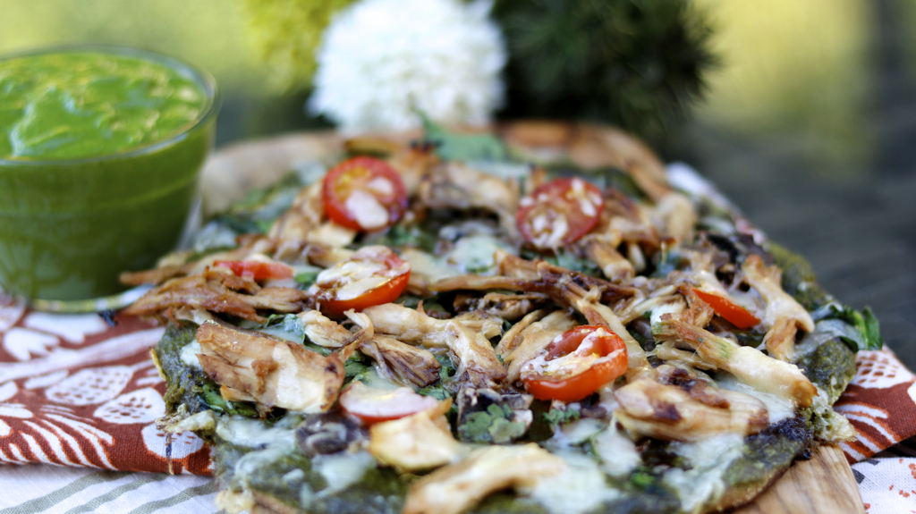 Gluten-Free Chicken Cilantro Pesto Pizza