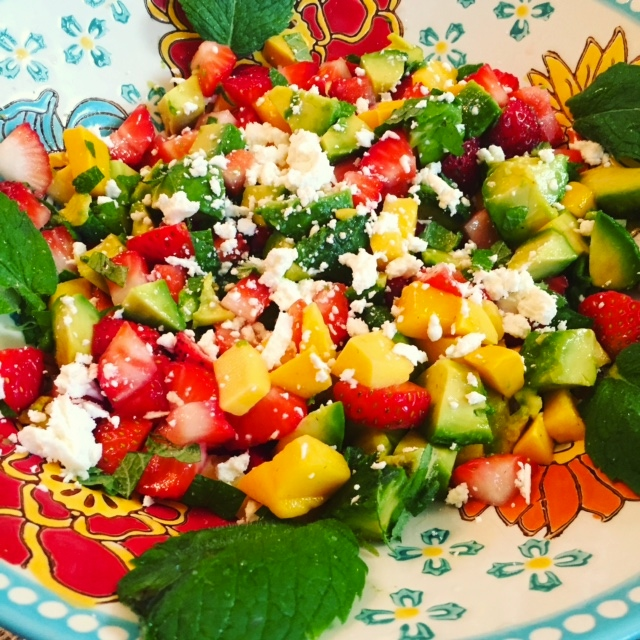 Mango Avocado Salsa with Goat Cheese