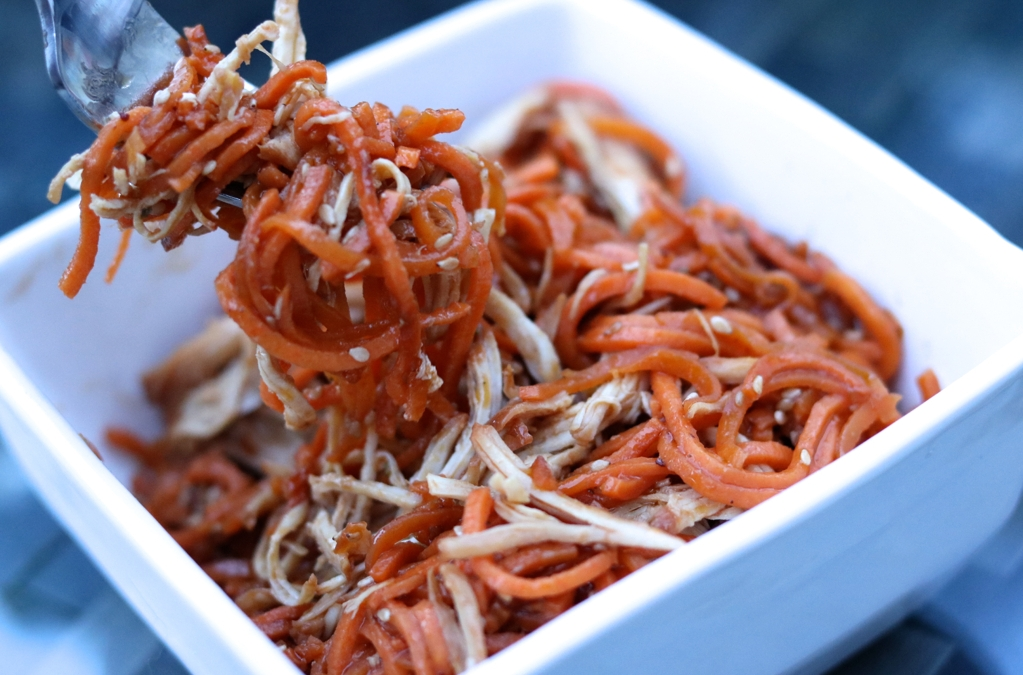 Spiralized Sweet Potato over Tangy Chicken