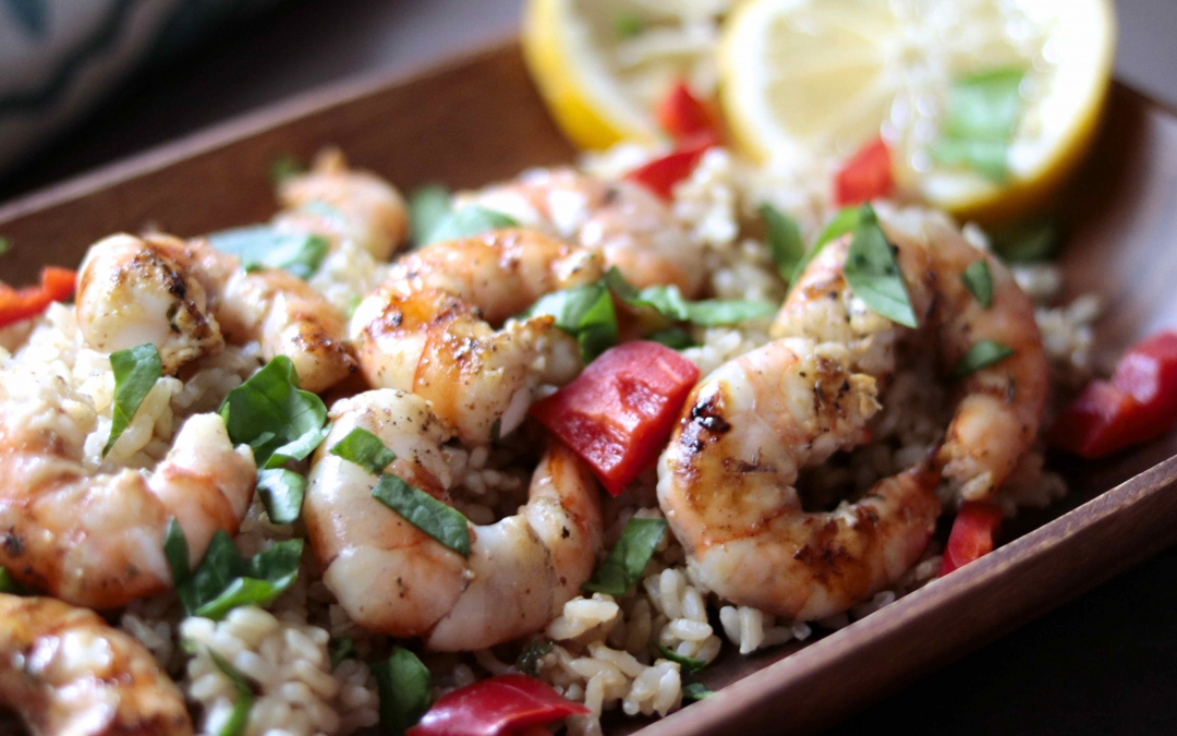 Tangy Wild Shrimp over Sprouted Brown Rice